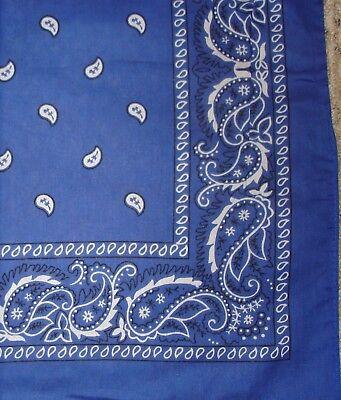 ROYAL BLUE PAISLEY BANDANA BANDANNA 22X22 DOUBLE SIDED 100% COTTON FREE SHIPPING - Royal Blue Bandana