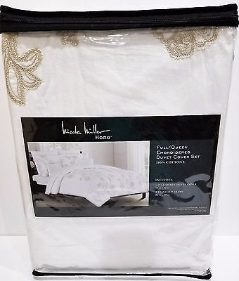 New NICOLE MILLER Luxury White Tan Embroidered Floral Duvet Set - Full/Queen