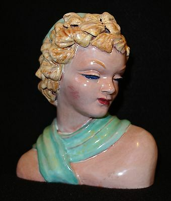 Austrian Bust of Girl Goldscheider Austria Vintage Pottery Antique Art Deco