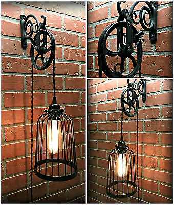 HuGe SaLe! Vintage Black Bird Cage Wall Pulley Light - Dimmer - Industrial Farm