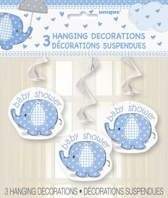 Umbrellaphants Blue Swirl Decoration 3PK M41712 Party Boy Baby Shower Hanging
