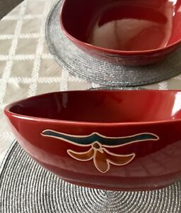 Square Red Bowls - set of 2