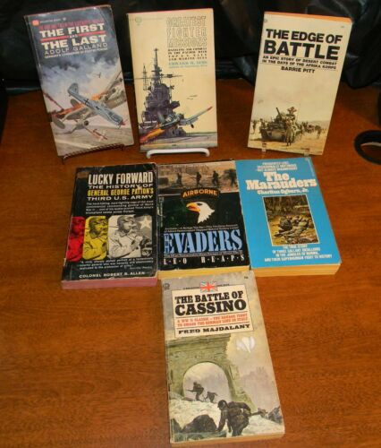 7 Vintage Paperback Books Military WWII Era Lot 7