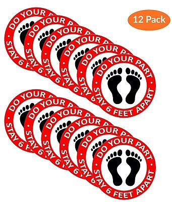 12 Pack Social Distancing Floor Decals Stickers Do Your Part Stay 6 Feet Apart