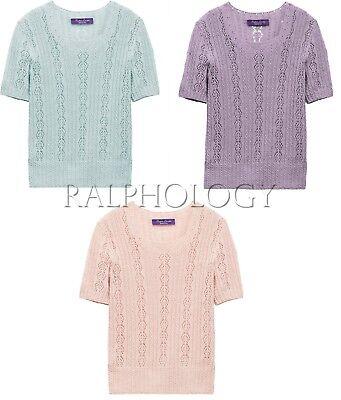 $990 Ralph Lauren Purple Label Collection Cable Knit Pointelle Cashmere Sweater (Knit Cashmere Sweater)