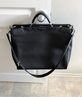 5fa7d1db0c Fendi Selleria Peekaboo Black Leather Messenger Shoulder Handbag  7VA388X4KF0R2A