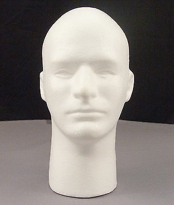 Male Mannequin Styrofoam 12 Head Bust With Face - Display Wigs Glasses Hats