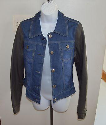 Therapy by Lane Crawford Denim Jacket Vegan Leather Sleeves Ladies Sz L
