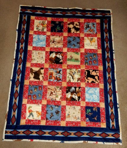 """COWBOY & COWGIRL WESTERN HORSE  PATCHWORK HOMEMADE QUILT lap  46"""" X 61""""   BLUE"""