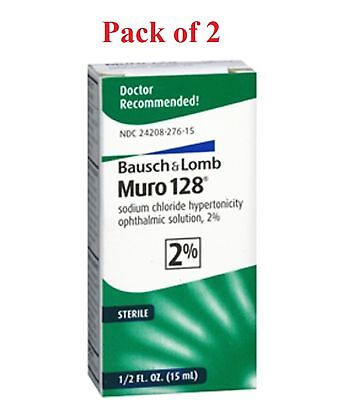 Bausch + Lomb Muro 128 Solution 2% Corneal Edema Relief 15 mL  (Pack of 2)