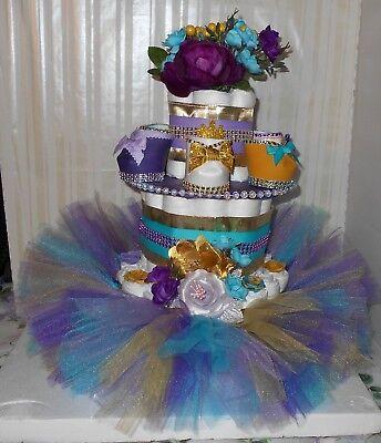 3 Tier Tutu Diaper Cake Baby Shower Center Piece Baby Girl Shower Gift