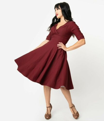 NWT Unique Vintage 1950s Burgundy Red Delores Swing Dress with Sleeves Size M
