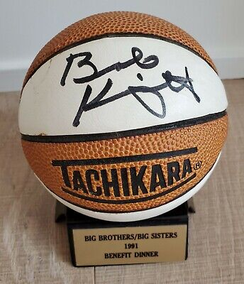 Bob Bobby Knight signed MINI Basketball 1991 Indiana Hoosiers autographed