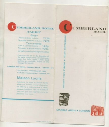 Hotel  Brochure For The Hotel Cumberland London 1965