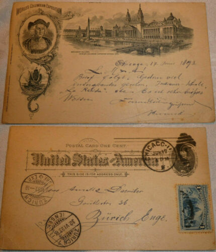 COLUMBIAN EXPO - GIRSCH & ROEHSLER PC - CHICAGO Jun 17 1893 USAGE to SWITZERLAND