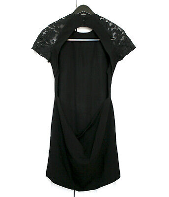CHRISTOPHER KANE plunging low open back lace shoulder black wool mini dress 8/12