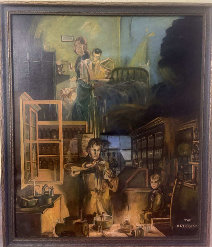 Rare Vintage Apothecary Pharmacy Art THE DRUGGIST Large Framed Work