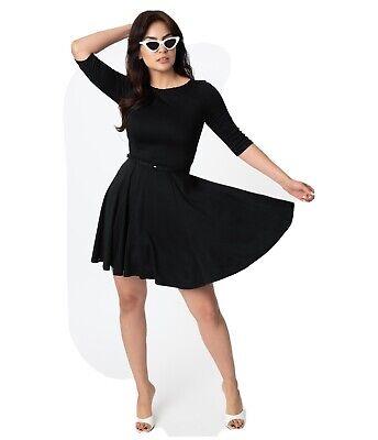 NWT size SMALL/4 Unique Vintage black Half knit sleeve fit & flare Vintage Dress