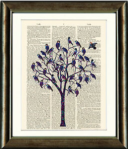 Old-Antique-Book-page-Art-Print-Blue-Bird-Tree-Upcycled-Dictionary-page-Print