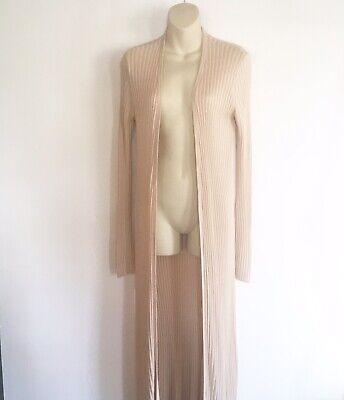 Lovers + Friends Womens Woven Knit Duster Sweater Cardigan Size Medium Beige EUC