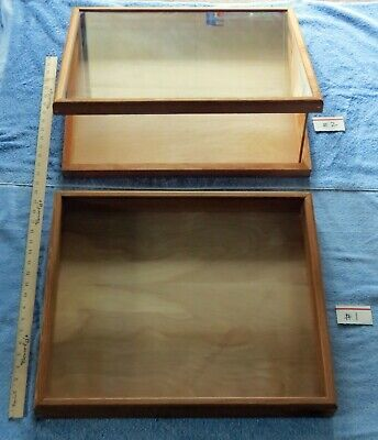 Handcrafted Wood Glass Jewelry Display Case Matching Pair 22x 18 34x 2