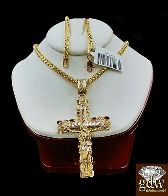 Real 10k Yellow Gold Mens Jesus Cross Charm/Pendant with 22