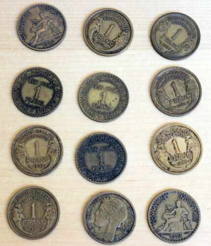 France: Lot of 12 Different 1 Franc Coins 1921-1938