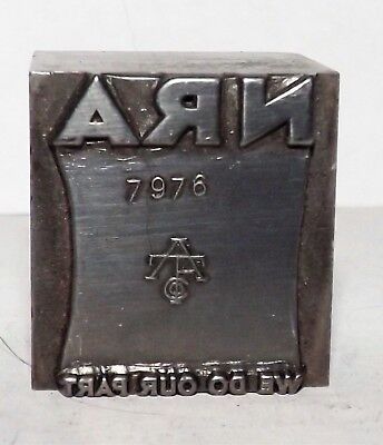 Nra American Type Foundry Printer Block Letterpress Metal Printer Cut