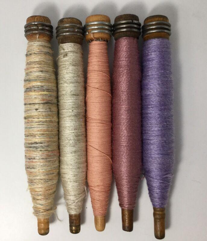 Vtg Wooden Sewing Bobbins With Thread/Yarn Set Of 5 Lot 16