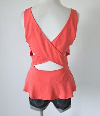 EXPRESS Scoop Neck Cross Open Back Empire Waist Peplum Tank Top Shirt Blouse M (Scoop Neck Empire Top)