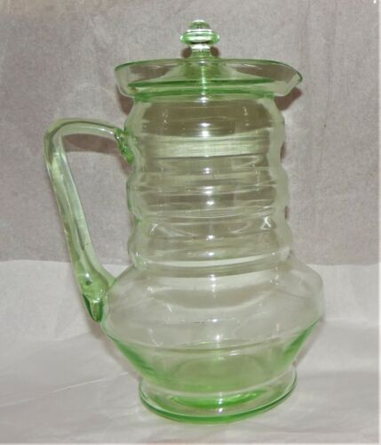 Vintage Green Uranium Glass Large Pitcher with Lid