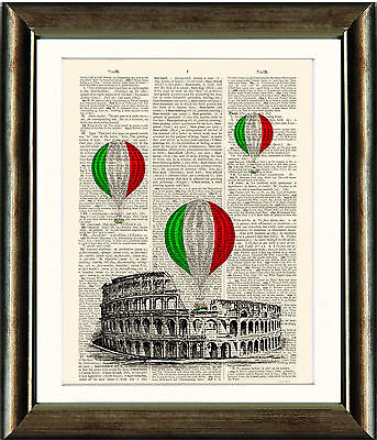 Antique Book page Art Print - The Colosseum and Air Balloons Rome Wall (Air Art Print)