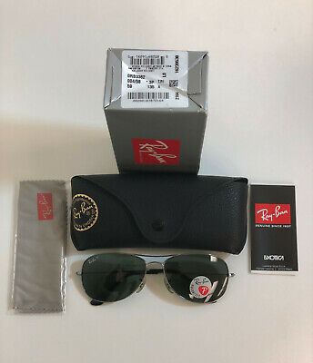 Ray-ban Cockpit RB3362 004/58 59mm Gunmetal/Crystal Green Polarized (Ray Ban Cockpit 3362)