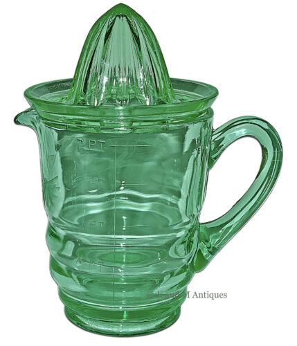 Paden City Party Line Green #191 HTF Wheel Cut 32 oz. Pitcher / Jug and Reamer