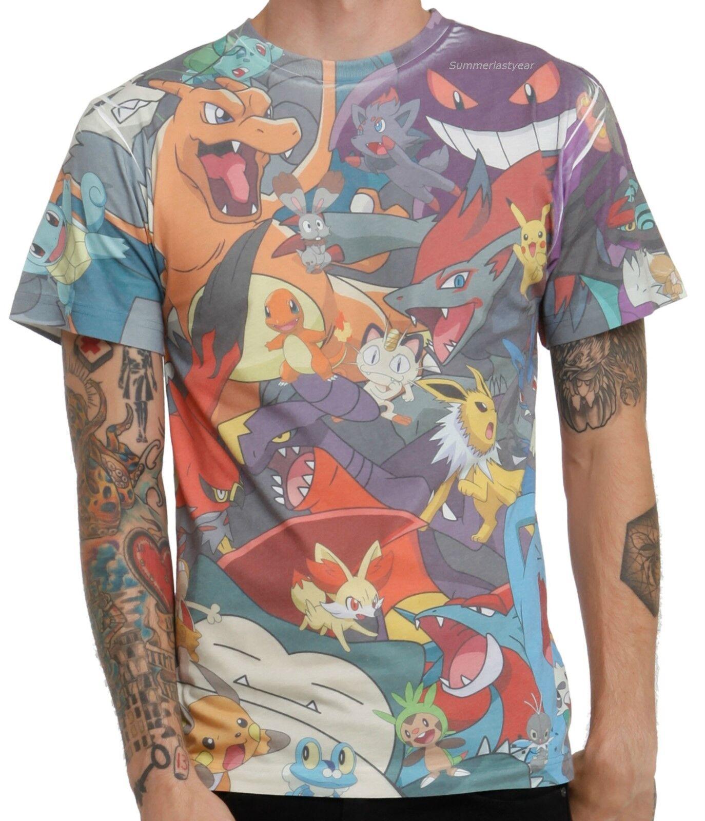 Pokemon Group Sublimation Print T Shirt Adult Unisexlicensed