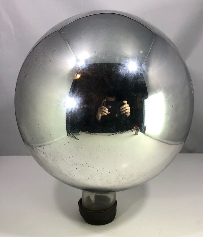 """Antique 10"""" Victorian Mercury Glass Gazing Ball Witches Ball 31"""" Circunfrence"""