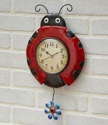 Metal Ladybug Pendulum Wall Mounted Clock - Indoor Gardening Accent