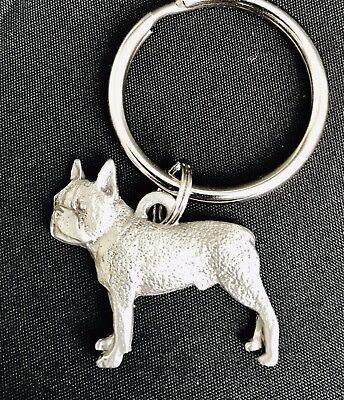 Solid Pewter BOSTON TERRIER Dog Puppy Silver Metal Figurine Keychain E