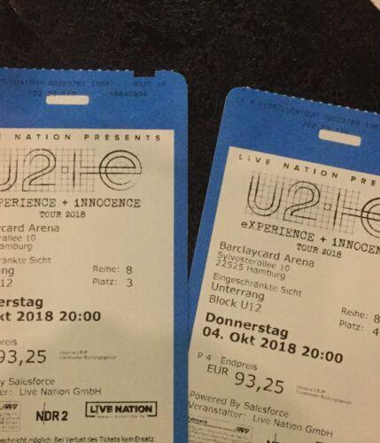 2 Tickets U2 Hamburg Unterrang
