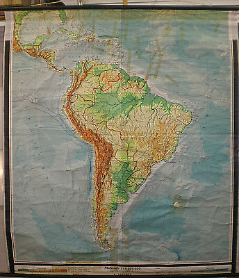 Schulwandkarte South America Detail Caribbean 151x170 ~ 1960 Vintage