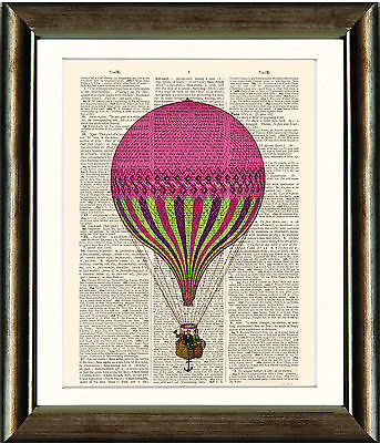 Antique Book page Art Print - Hot Air Balloon 1  Dictionary Page Wall Art