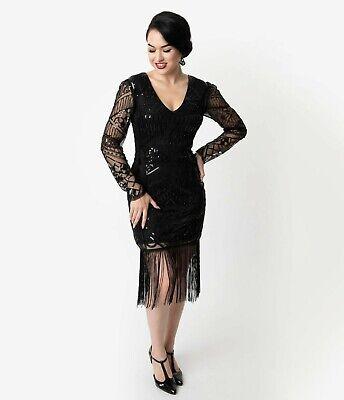 WN Unique Vintage 1920s Black Beaded Long Sleeve Fringe Celia Flapper Dress Sz L