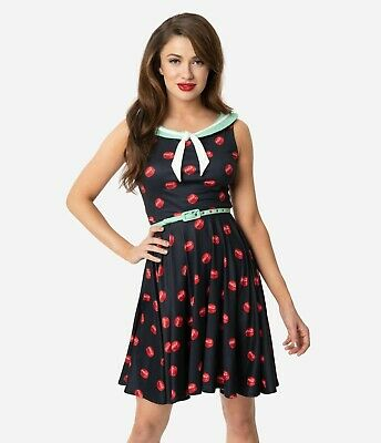 Coca-Cola Black & Red Bottle Cap Print POP! Unique Vintage Modcloth Dress L