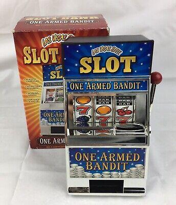 "- One Armed Bandit Jackpot Coin Slot Bank Mini  Machine 7.5"" Las Vegas Style"