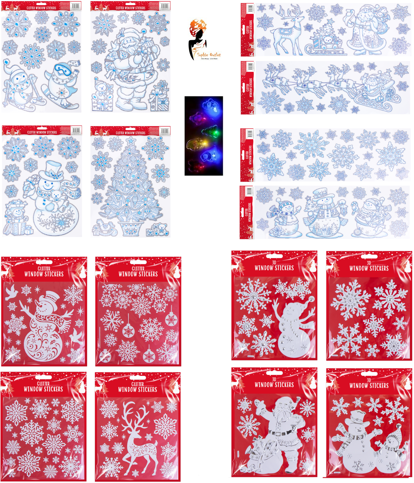 Home Decoration - GEL CHRISTMAS WINDOW STICKERS Xmas Santa Removable Gel Decal Wall Home Decor UK