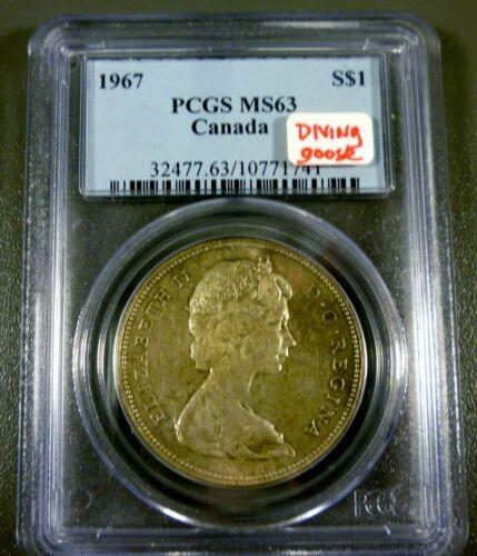 Canada 1967 Silver Dollar $1 Canada Goose MS63 PCGS