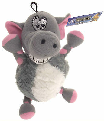 "Krislin Plush Funny Face Smiling Elephant Dog Puppy Pet Toy 12"" Squeak Noise NEW"