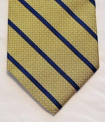BROOKS BROTHERS YELLOW-GOLD BLUE BASKET WEAVE TONAL & STRIPE DESIGN SILK TIE USA Basket Weave Silk Tie