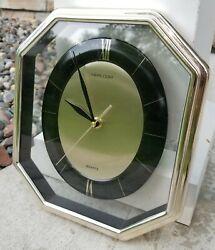 Vintage HEIRLOOM Quartz Mid Century Style Hexagon Wall Clock 11x9.5x2 Silver