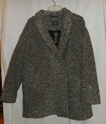 ABERCROMBIE & FITCH BLACK TWEED WINTER COAT WOMEN'S SIZE LARGE NEW